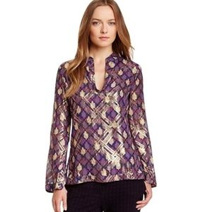 Tory Burch Stephanie Metallic Silk Top Size 2